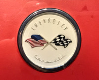 Original Badge for the 1953 Corvette. Stopped by the legal department because of the flag. 3-23-18.